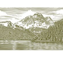 Woodcut Landscape with Mountain Photographic Print