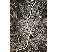 Budapest map ink lines Photographic Print