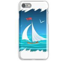 The sailboat floating in the sea.  iPhone Case/Skin