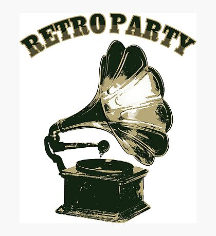 Retro Party with  Gramophone Photographic Print