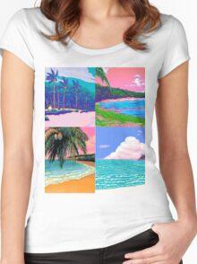 Pixel art Vaporwave Aesthetics Women's Fitted Scoop T-Shirt