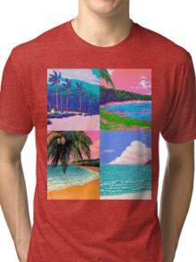 Pixel art Vaporwave Aesthetics Tri-blend T-Shirt