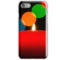 Birning candle on bokeh new year background, christmas card iPhone Case/Skin