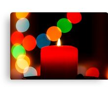 Birning candle on bokeh new year background, christmas card Canvas Print