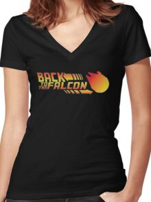 Back to the falcon Women's Fitted V-Neck T-Shirt
