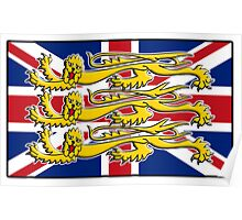 Union Jack, Three Lions, 3 Lions, GB, BRITISH, BRIT, PATRIOT, Royal Banner of England, England, English, British, Britain, UK Poster