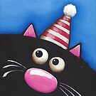 Party Cat in a red hat by StressieCat