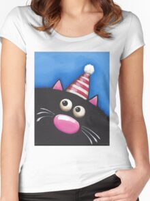 Party Cat in a red hat Women's Fitted Scoop T-Shirt