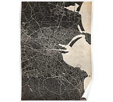 dublin map ink lines 2 Poster