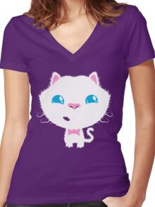 Sweet Cat Women's Fitted V-Neck T-Shirt