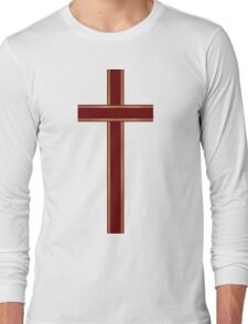 Gold Christian Cross Long Sleeve T-Shirt