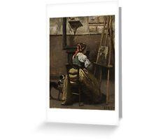 JEAN-BAPTISTE-CAMILLE COROT, THE ARTIST'S STUDIO 2.  Greeting Card