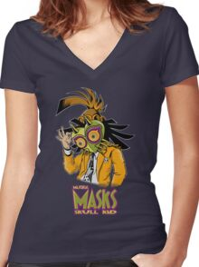 LINK THE MASK Women's Fitted V-Neck T-Shirt