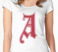 English Gothic Monogram letter A - red color Women's Fitted Scoop T-Shirt