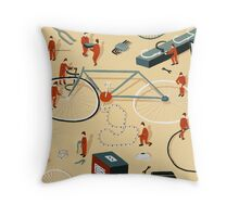 Bicycle building Throw Pillow