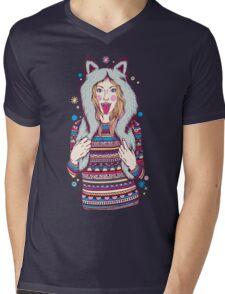 Wolf Girl Mens V-Neck T-Shirt