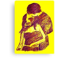 universal kiss in purple with yellow background Canvas Print