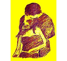 universal kiss in purple with yellow background Photographic Print
