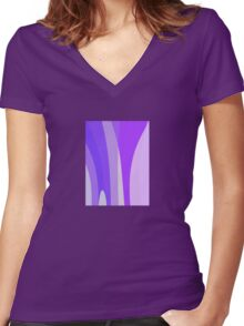 Blues, Purples, Pinks Abstract Women's Fitted V-Neck T-Shirt