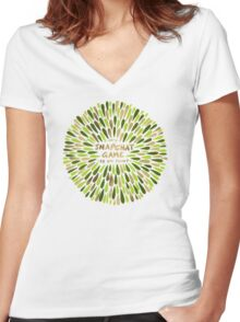 Snapchat – Green & Gold Women's Fitted V-Neck T-Shirt