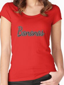 """Black and White """"Bananas"""" on Yellow Women's Fitted Scoop T-Shirt"""