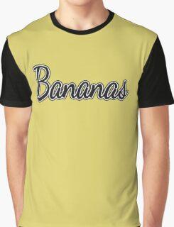 "Black and White ""Bananas"" on Yellow Graphic T-Shirt"