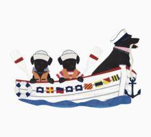 Nautical Preppy Dogs - Black Lab Kids Tee