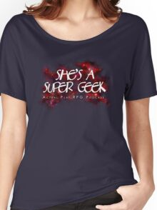 She's A Super Geek Logo Women's Relaxed Fit T-Shirt
