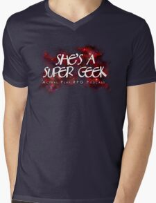 She's A Super Geek Logo Mens V-Neck T-Shirt