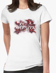 She's A Super Geek Logo Womens Fitted T-Shirt