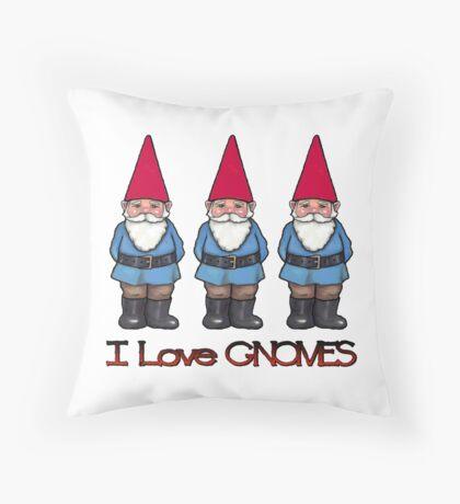 I Love Gnomes: Cute Hand Drawn Gnomes Throw Pillow