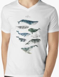 Whales Mens V-Neck T-Shirt