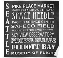 Seattle Famous Landmarks Poster