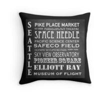 Seattle Famous Landmarks Throw Pillow
