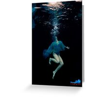 Bubbles and blue dress underwater Greeting Card