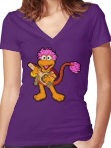 Down at Pixel Rock - Gobo Women's Fitted V-Neck T-Shirt