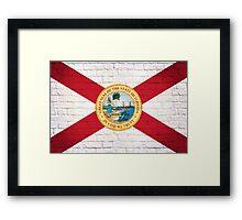 Florida flag grunge brick wall Framed Print