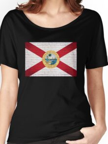 Florida flag grunge brick wall Women's Relaxed Fit T-Shirt