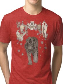 The Hunter (Tiger, Skulls and blossoms) Tri-blend T-Shirt