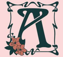 Fancy art nouveau letter A, flower Kids Tee