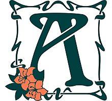 Fancy art nouveau letter A, flower Photographic Print