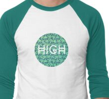 HIGH TYPO! Cannabis / Hemp / 420 / Marijuana  - Pattern Men's Baseball ¾ T-Shirt