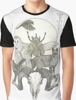Moonlight Creeping (Skull, owl, moon, fox, blackbird and skull art) Graphic T-Shirt