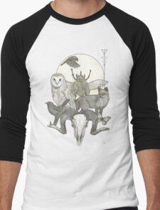 Moonlight Creeping (Skull, owl, moon, fox, blackbird and skull art) Men's Baseball ¾ T-Shirt