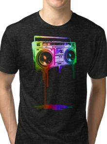Melting Boombox (digital rainbow color) Tri-blend T-Shirt