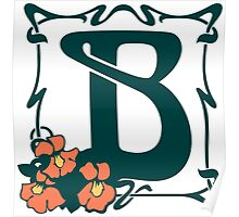 Fancy art nouveau letter B, flower Poster