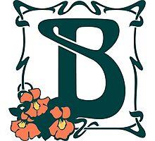 Fancy art nouveau letter B, flower Photographic Print