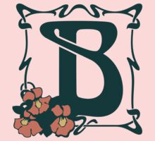 Fancy art nouveau letter B, flower Kids Tee
