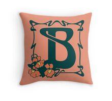 Fancy art nouveau letter B, flower Throw Pillow