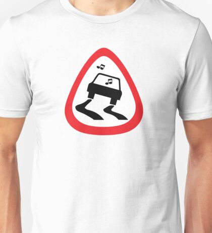 Guitar Pick / Plectrum: Traffic sign slippery road Unisex T-Shirt
